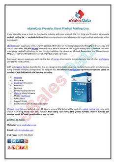giant-medical-mailing-lists-with-esalesdata by eSalesData LLC via Slideshare