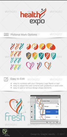 Health Expo Logo Template Kit  #GraphicRiver         Health Expo Logo Template Kit is available with many Pictorial Mark Options, which are very easy t