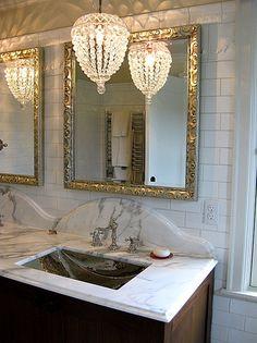 Oversize Mirror   Vintage Bathroom   Luxurious Bathroom   Pendant Lighting   Lighting Idea   Small Crystal Chandelier   Ceiling Light