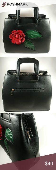 6b46910203 Large Black Purse Black lovely large Satchel with faux leather rose  ensemble. Exterior has 3