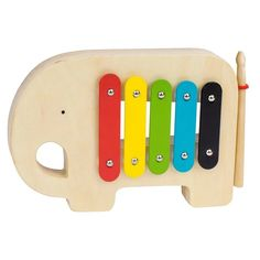 Ding! Dong! Ting! You'll love listening to your little one play five sweet notes on this brightly colored Modern Elephant Wood Xylophone. Music can be played on the go as this compact and easy elephant has a trunk that doubles as a handle. This toy helps promote hand-eye coordination and ensure hours of fun.