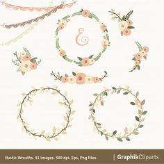Rustic Wreaths Clipart Floral Wedding Invitations 11 Images 300 Dpi Eps Png Files Instant Download