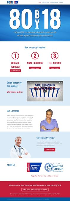 Reach80by18.com is a website from the American Cancer Society to help promote colon cancer screening.