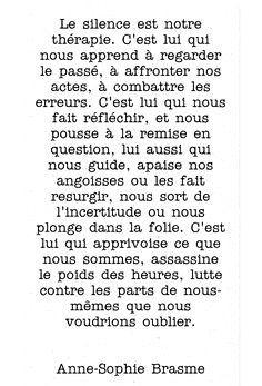 """Anne-Sophie Brasme """"Le silence est notre thérapie..."""""""