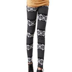 ECOSCO Women Black White Snow Snowflake Footless Legging Tight Pant