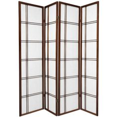 Oriental Furniture 6 ft. Tall Double Cross Shoji Screen - 4 Panel - Walnut, Brown