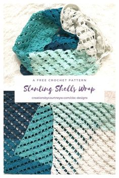 Slanting Shells Wrap: A Free Crochet Pattern. Grab your favorite worsted weight yarn, or create a colorfully unique wrap by using scrap yarn. Crochet Shawls And Wraps, Crochet Scarves, Crochet Clothes, Crochet Hats, Crochet Wrap Pattern, Easy Crochet Patterns, Crochet Ideas, Crochet Stitches, Crochet Cover Up