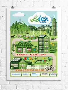 Ecofest 2015 Advertising Campaign, designed by: Adele Gannaway Limited, Graphic Design & Photography - www.adelegannaway.co.nz  Key words: Festival Poster, Arts Festival Design, Creative Poster Design, Vector Illustrations, Creative, Vector Buildings, Festival Programme, Flyer Design, billboard design, Vector Artwork, Eco, Green, Recycling, Reusing, Ecology, environmental action, sustainable living, sustainable, sustainability, environmental restoration.