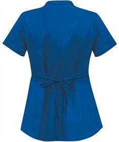 Solid Mandarin Collar Snap Front Scrub Top|Uniform Advantage