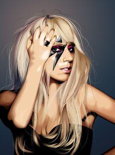 Definitv die beste Lady Gaga Illustration die wir gesehen haben. Eine Woche Arbeit, 492 Ebenen in Adobe Photoshop. 1000x Respect! Designer: fabulosity