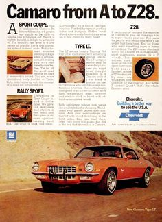 1973 Chevrolet Camaro original vintage advertisement. Available in four different model trim levels: Sport Coupe, Rally Sport, Z28 and Type LT (Luxury Touring) pictured. Camaro from A to Z28.