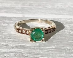 Vintage 14Kt Gold and Sterling Silver Emerald and Diamond Engagement Wedding Promise Ring Size 6.5 May Birthstone by AdornedInHistory on Etsy