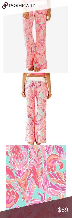 Lily Pulitzer linen beach pants small poolside NWT Lily Pulitzer linen beach pants poolside blue love birds size small New With Tags Lilly Pulitzer Pants Wide Leg