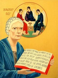 Icon of Dorothy Day, co-founder of the Catholic Worker movement, by Nicholas Brian Tsai Liberation Theology, Dorothy Day, Catholic Saints, Catholic Bishops, Religious Art, Way Of Life, Social Justice, Christianity, Religion