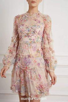 Puffed sleeves, intricate ruffles, and sheer fabric make this gown one gorgeous look for a wedding guest. #weddingideas #wedding #marthstewartwedding #weddingplanning #weddingchecklist Sequin Dress, Ruffle Dress, Pink Dress, Lace Dresses, Floral Chiffon Dress, Pink Maxi, Floral Dresses, Ruffles, Hand Painted Fabric