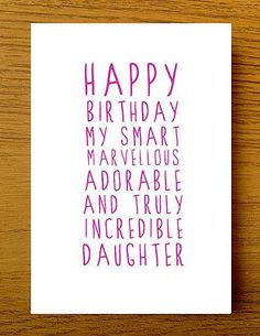Sweet Description Happy Birthday Daughter Card                                                                                                                                                     More