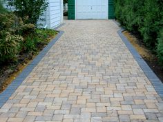 Turn your project into a showcase with detailed craftsmanship & elevating aesthetics from industry leading birck pavers. Block Paving Driveway, Stone Driveway, Driveway Design, Brick Paving, Driveway Landscaping, Outdoor Landscaping, Driveway Ideas, Landscaping Ideas, Front Garden Path