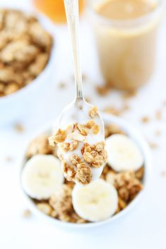 Peanut Butter, Banana, and Honey Granola Recipe on twopeasandtheirpod.com This easy homemade granola is amazing! It is perfect for breakfast or snacking!