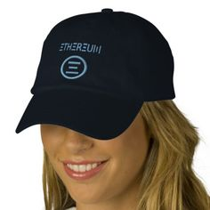 Ethereum Symbol lightblue embroidered design on navy blue adjustable baseball cap