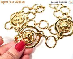 ON SALE TODAY Vintage Gold Belt Lion Head Vintage Chain Belt Gold  circle Links with Polished Gold Adjustable fashion belt
