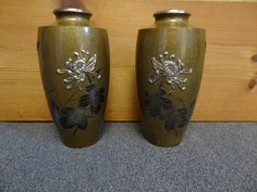 Art Deco Pair of Japanese Mixed Metal Vases Applied by TFSloan, $695.00