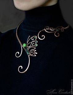 "Necklaces, handmade beads.  Fair Masters - handmade.  Buy Necklace ""Butterfly"".  Handmade.  Green copper necklace"