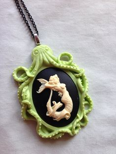 Mermaid in the Lime Green Kraken Cameo Necklace Octopus Art, Octopus Squid, Mermaid Jewelry, Mermaid Pendant, Mermaids And Mermen, Cameo Necklace, Toxic Vision, Merfolk, Kraken