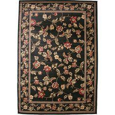 Halle Black Area Rug 7'10 x 9'10 Carpet Persian Oriental Antique Floor Mat Home