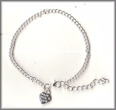'Made with Love' Heart Charm Silver Plated Bracelet(18cm)  by MadAboutIncense - $10.50
