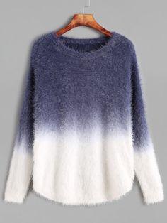 Ombre Drop Shoulder Curved Hem Mohair Sweater