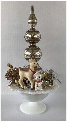 Vintage Tree Toppers, Vintage Christmas Tree Toppers, Retro Christmas Tree, Vintage Christmas Crafts, Retro Christmas Decorations, Primitive Christmas, Christmas Centerpieces, Vintage Ornaments, Vintage Holiday