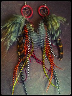 Feathers and Faux Fur Dream Catcher Earrings by InFineFeathers