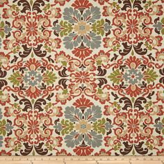 Tuscan Style Drapery fabric in terracotta, gray, and chocolate brown tones