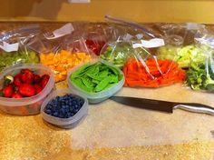 Wash and cut up produce after shopping for easy grabbing