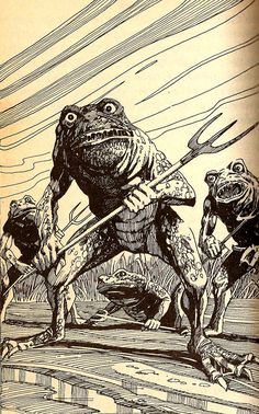 """meanwhilebackinthedungeon: """"The Dread Frog People of Fighting Fantasy """""""