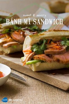 This Vietnamese Pork Bánh Mì sandwich features juicy pork tenderloin in a marinade of sugar, garlic, chili sauce, fresh lime and fish sauce, topped with pickled vegetables. Serve with crunchy potato chips for a delicious lunch or dinner.