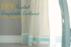 LAKE COTTAGE DREAMS: DIY No Sew Drop Cloth Curtains