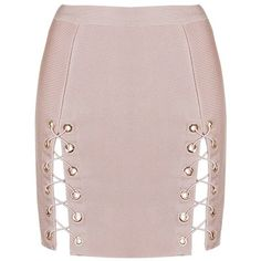 Honey couture kyla pink lace up split bandage mini skirt (3.095 ARS) ❤ liked on Polyvore featuring skirts, mini skirts, short pink skirt, pink mini skirt, bandage skirts and short mini skirts