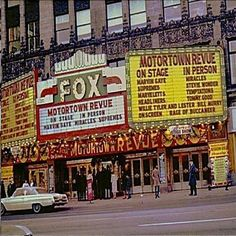 Detroit's Fox Theatre marquee — The Motortown Revue I attended shows like this from 1963 to 1966 at the Brooklyn Fox, emceed by DJ, Murray, the Kaye, and The Apollo Theater in New York City. Detroit Area, Metro Detroit, State Of Michigan, Detroit Michigan, Michigan Travel, Detroit History, Album, Great Lakes, Movie Theater