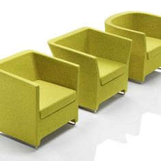 The award-winning range has a progressive, gently angular design, all three chairs bearing subtle variations in shape and size to work together in the same environment or as three individual pieces.  Fully upholstered in a range of fabrics CMHR moulded foam body Choice of aluminium feet or chromed skid legs