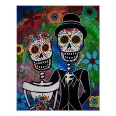 Peinture mexicaine d'art populaire de mariage affiches