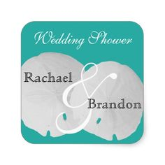 Blue Lagoon Beach Wedding Shower Stickers