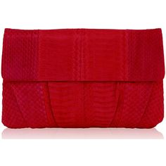 Inge Christopher Erin Clutch (2 870 ZAR) ❤ liked on Polyvore featuring bags, handbags, clutches, red, red clutches, red handbags, snakeskin handbags, snakeskin purse and python purse