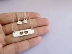 Mother Daughter Necklace Set Heart Necklace by LadyWatsonDesigns