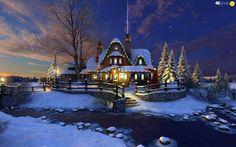 Бог, живопись, зима, дом, рождение