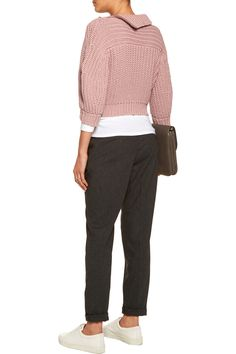 Brunello CucinelliCropped textured-knit cotton-blend sweaterback