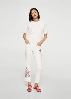 Geborduurde straight-fit crop jeans