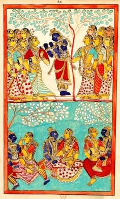 Two registers: above, Krishna gopi seduced into playing the flute among them; down on turquoise background, three couples with Krishna. The Rasa Lila of Krishna describes the love games which multiply into many gopa to meet each gopi. Karaikal (Tanjore), between 1742 and 1758