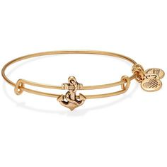 Alex and Ani Anchor Slider Expandable Wire Bangle (£18) ❤ liked on Polyvore