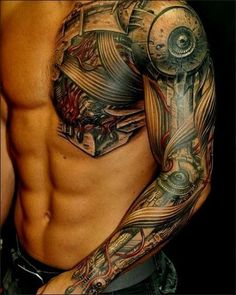half robot heart chest tattoo - Google Search